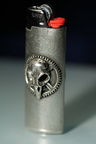 Bird Skull and Clock Gear Lighter Cover