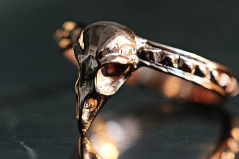 Precious Bird Skull Ring rose gold