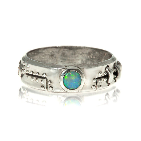 Opal and Diamond Steampunk Industrial Ring in sterling
