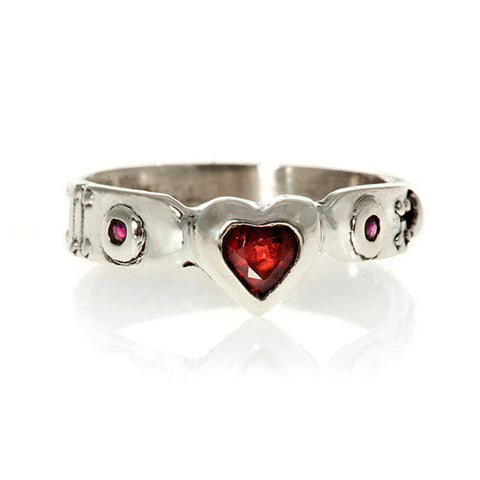 My Heart Red Garnet and Ruby Ring