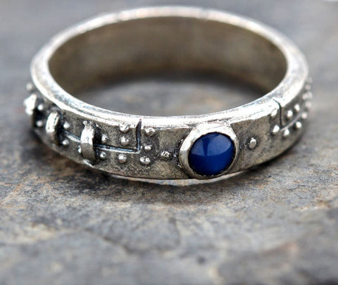 Diamond and Blue Sapphire Steampunk Industrial Ring (ladies)