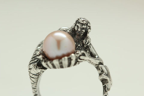 Pink Pearl Mermaid Ring