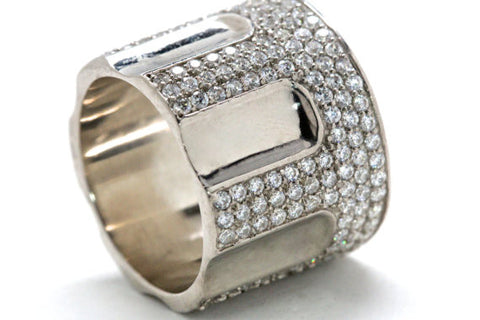 44 Cal Pistol Ring in rhinestone pave