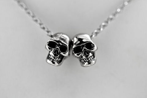 Two Human Skulls Necklace