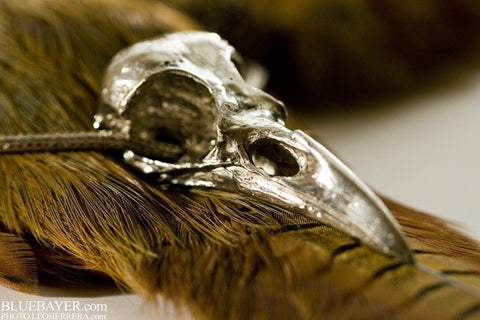 Life Sized Crow Skull Cast in Sterling Silver