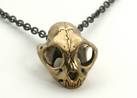 Small Cat Skull in Bronze