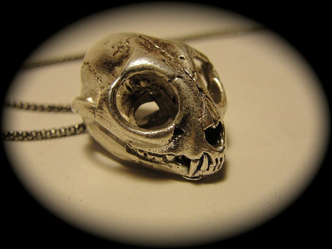 Small Cat Skull in Sterling Silver