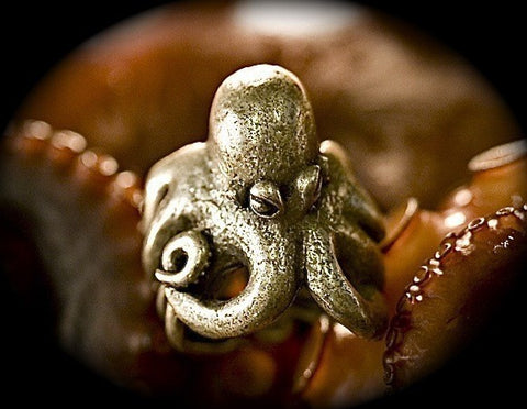Octopus Ring Antique Silver Finish