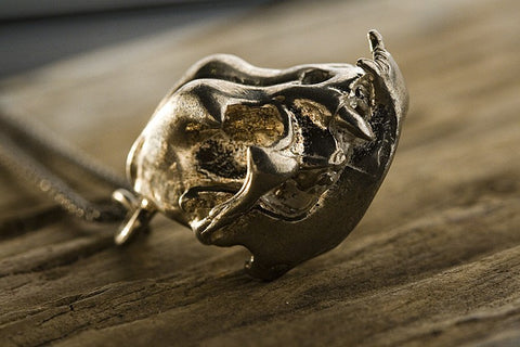 Bull Dog Skull Pendant in bronze
