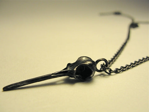 Hummingbird Skull Pendant in Solid Black Sterling Silver