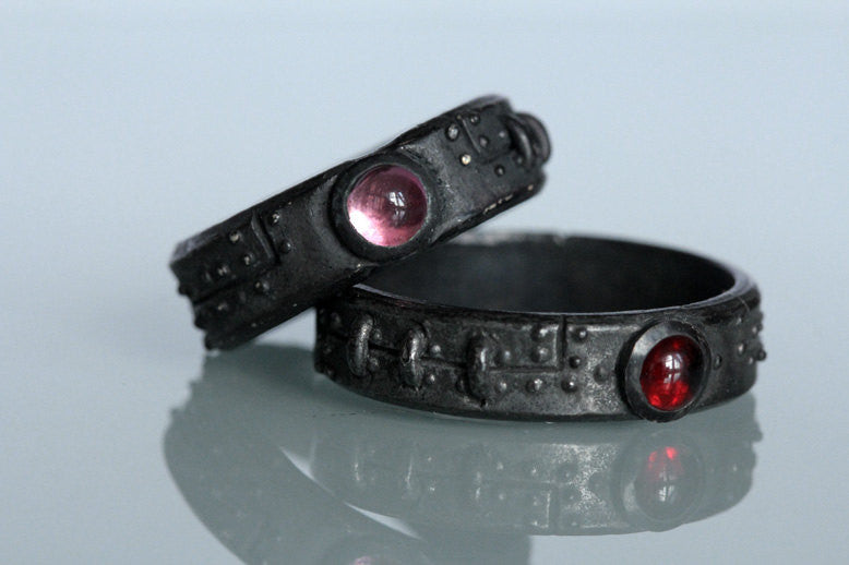 Steampunk diamond wedding ring set in blackened silver by Blue