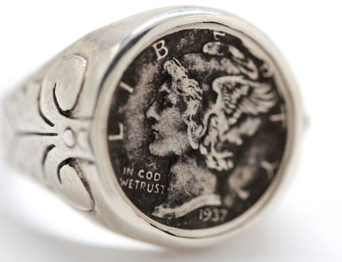 Mercury Dime Ring in Sterling Silver Made in NYC