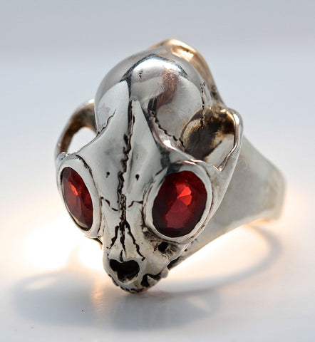Bobcat Wild Cat Skull Ring in Sterling Silver Gem Eyes
