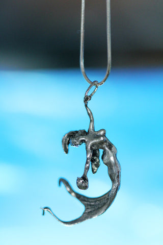 Silver mermaid necklace original carving
