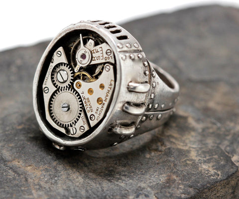 Watch Part Steampunk Ring in White Bronze