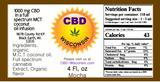 CBD Infused Natural M.C.T. Coconut Oil 250-1000 mg 2X Mocha Flavor