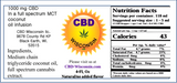 CBD Infused Natural M.C.T. Coconut Oil 250-1000 mg (No Flavor Added)