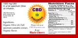 CBD Infused Organic Extra Virgin Olive Oil 250-1000 mg Black Cherry Flavor