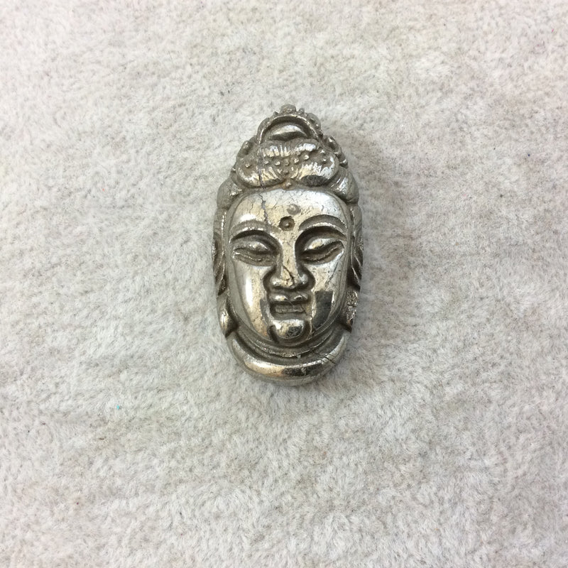 Random - Individual Approx Heavyweight Hand-Carved Qilin Shaped Natural Pyrite Pendant with 1mm Drilled Hole Measuring 37mm x 54mm