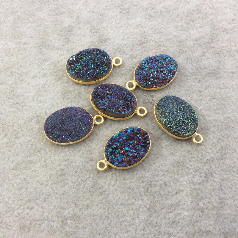 Approx Random Measuring 15mm x 20mm - Individual Gold Electroplated Natural PeachBrown Titanium Druzy Agate Oval Shaped Bezel Pendant