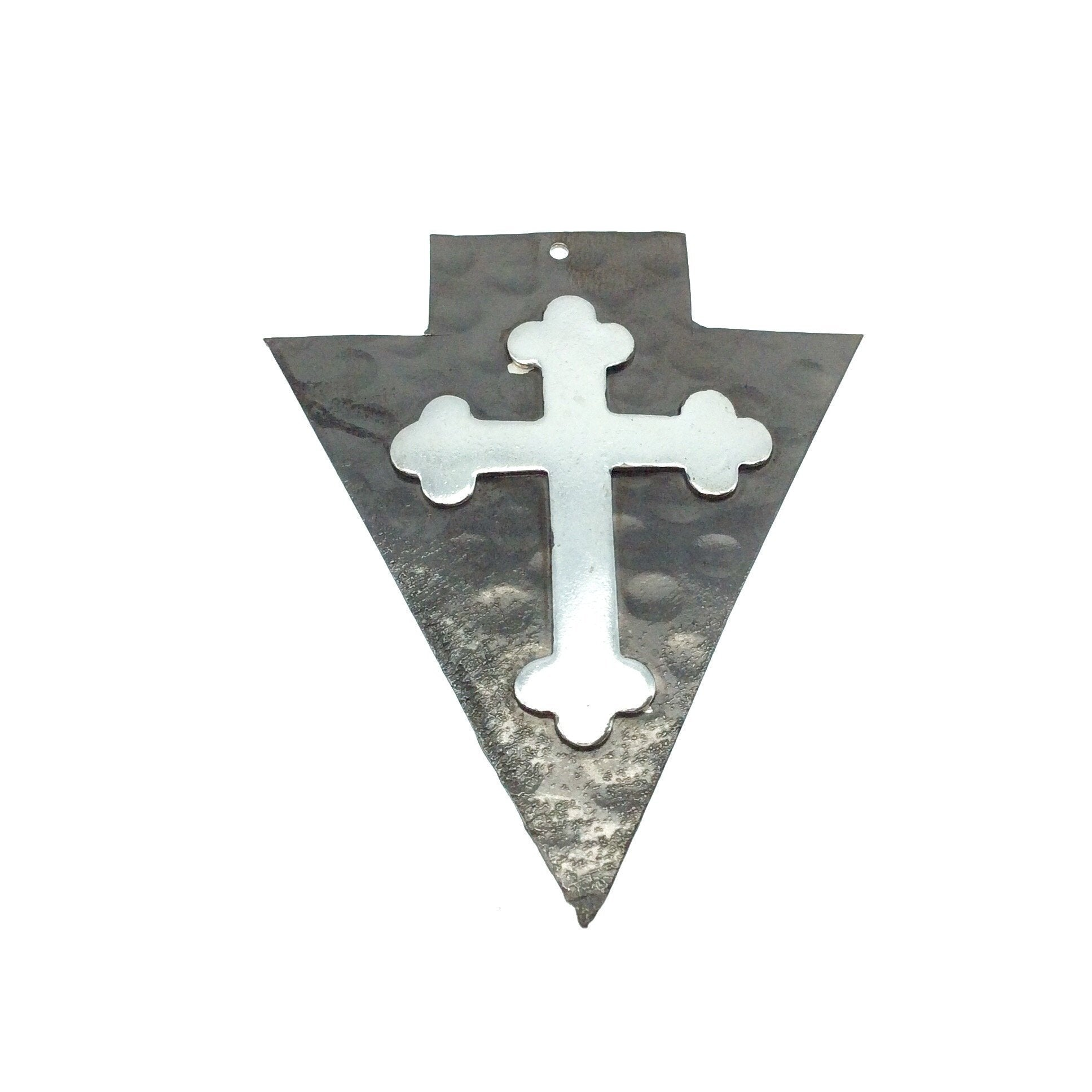 OOAK Rustic Shield Pendant Measuring 53mm x 63mm Gunmetal Plated Hammered Arrow Shape with Silver Plated Cross Embellishment