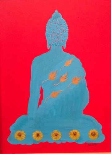 Turquoise Buddha On Red - Shawl