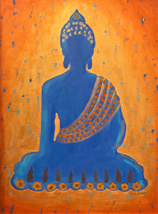 Blue Buddha On Golden with Blue Specs