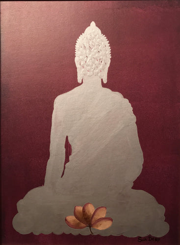 Silver Buddha On Bordeux - Lotus