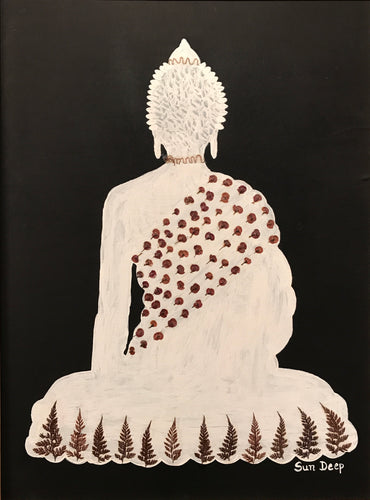 White Buddha On Black - Shawl Cactus