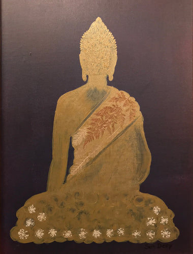 Golden Buddha On Bordeux - Shawl