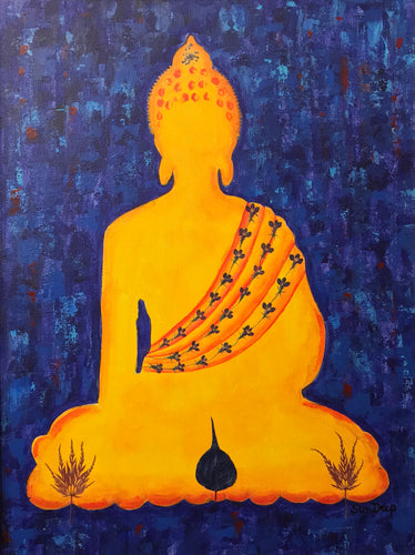 Golden Buddha On Blue Background