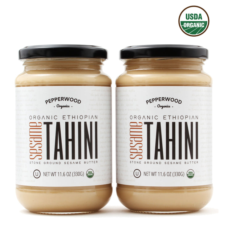 Organic Ethiopian Hulled Sesame Tahini - Glass Jar - 11.6oz (2 Pack)