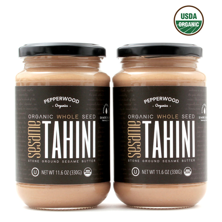 Organic Whole Sesame Tahini - Glass Jar - 11.6oz (2 Pack)