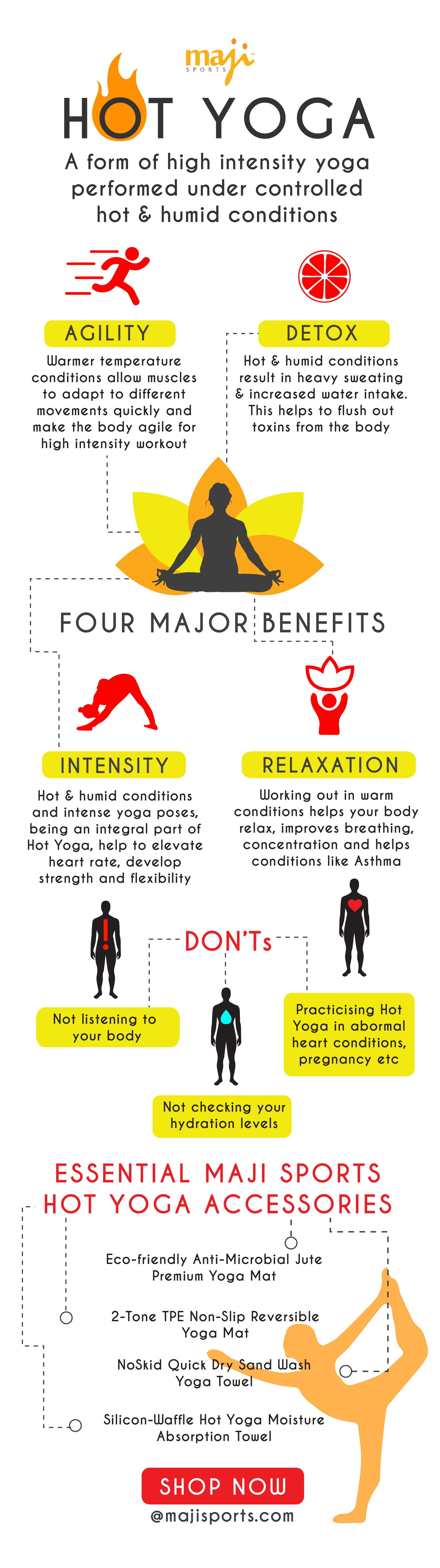 Hot Yoga - A Form of high intensity yoga perfomed under controlled hot & humid conditions
