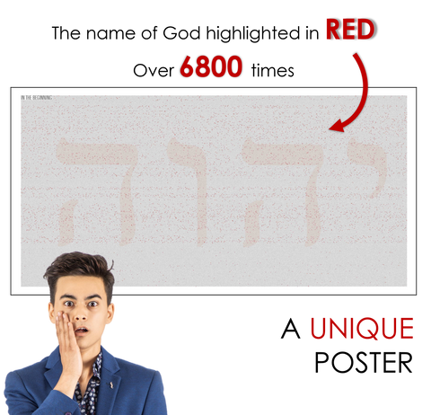 The name of God highlighted in RED over 6800 times. A UNIQUE poster