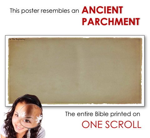 This poster resembles an ancient parchment. The entire Bible printed on ONE scroll!
