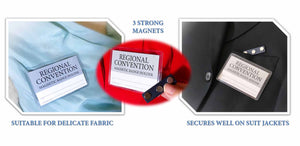 Magnetic Badge Holder secures well on suit jackets & delicate fabric