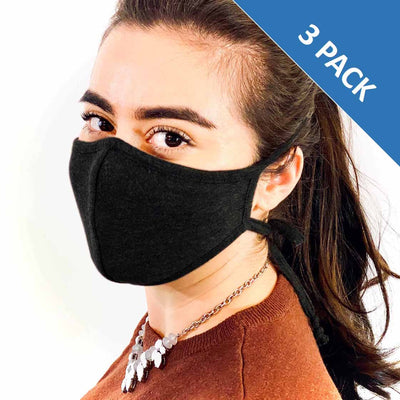 3 Layer Antibacterial Face Mask (Black) Qty Discount-Face Mask-MASKlala-3 PACK BLACK-PEGlala.com