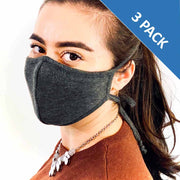 3 Layer Antibacterial Face Mask (Charcoal) Qty Discount-Face Mask-MASKlala-3 PACK CHARCOAL-PEGlala.com