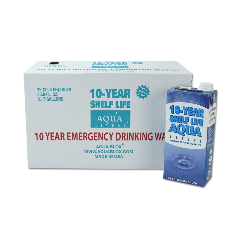 Aqua Literz 10-Year Emergency Drinking Water 33.8 oz (24 Units)-Emergency Kit Refills-PEGlala.com