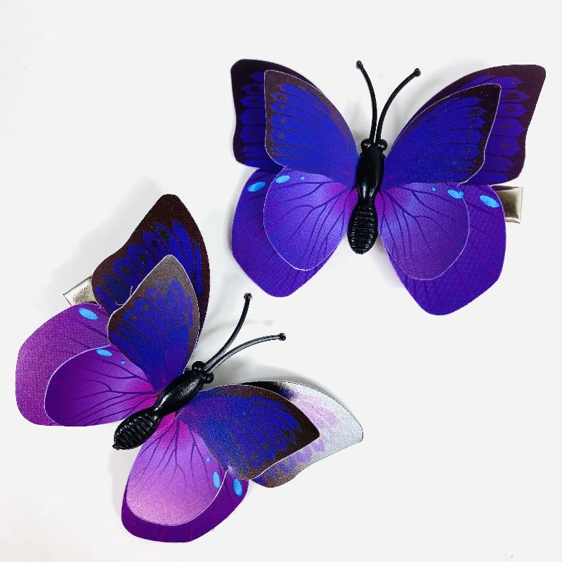 Style A - Purple Butterfly Hair Clips (2 pcs/set) PEGlala.com