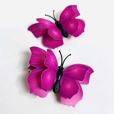 Style C - Dark Pink Butterfly Hair Clips (2 pcs/set) PEGlala.com