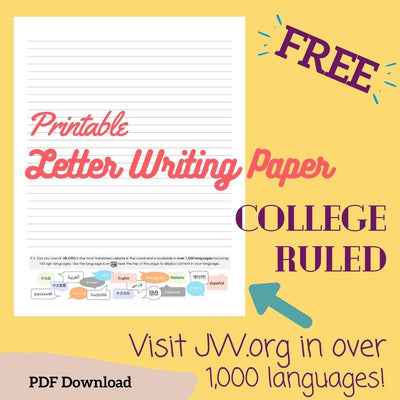 (Digital) Printable Letter Writing Paper Visit JW.org - College Ruled