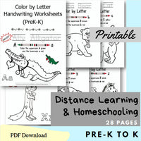 (Digital) Color by Letter Handwriting Worksheets (PreK-K)  Gigi Navarro PDF peglala-com.myshopify.com PEGlala.com
