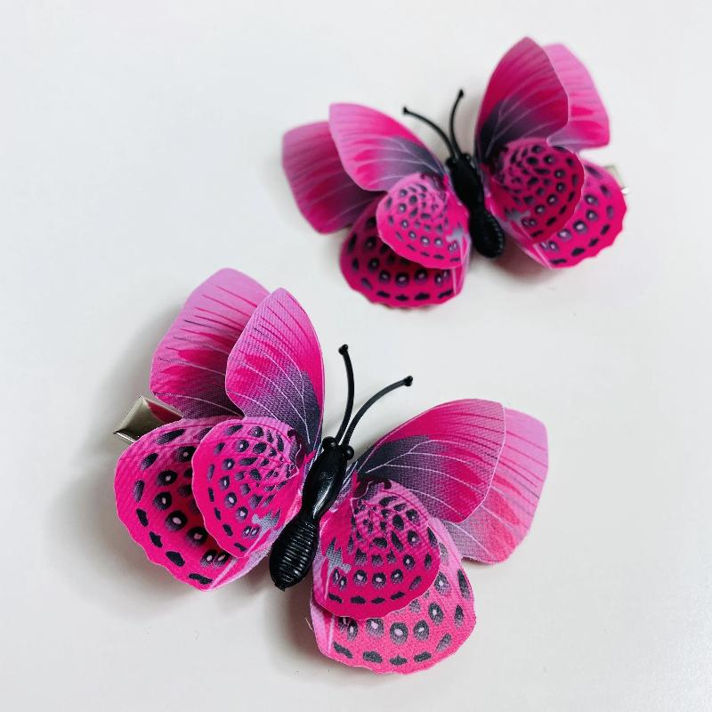 Dark Pink Butterfly Hair Clips (2 pcs/set) Style G -PEGlala.com