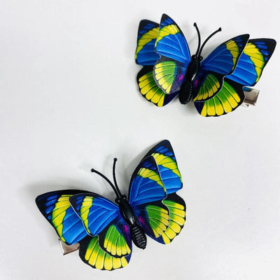 Blue Yellow Butterfly Hair Clips (2 pcs/set) Style I - PEGlala.com