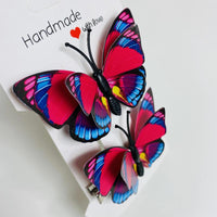 Red Blue Butterfly Hair Clips (2 pcs/set) Style K -PEGlala.com