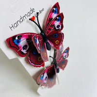 Dark Red Butterfly Hair Clips (2 pcs/set) Style M -PEGlala.com