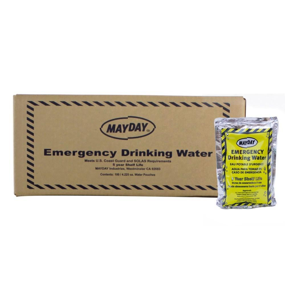Mayday Emergency Drinking Water 5 year shelf life 100 pouches per case