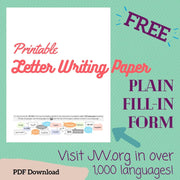 (Digital) Printable Letter Writing Paper Visit JW.org - Plain Fill-In Form